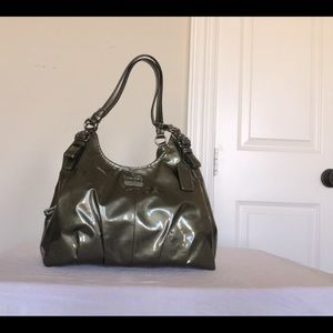 Coach Patent Leather Edie Shoulder Bag, Dark Green